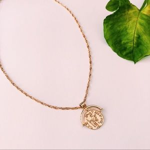 Jewelry - Gold Coin Pendant Charm Necklace